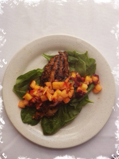 Catfish and mango salsa